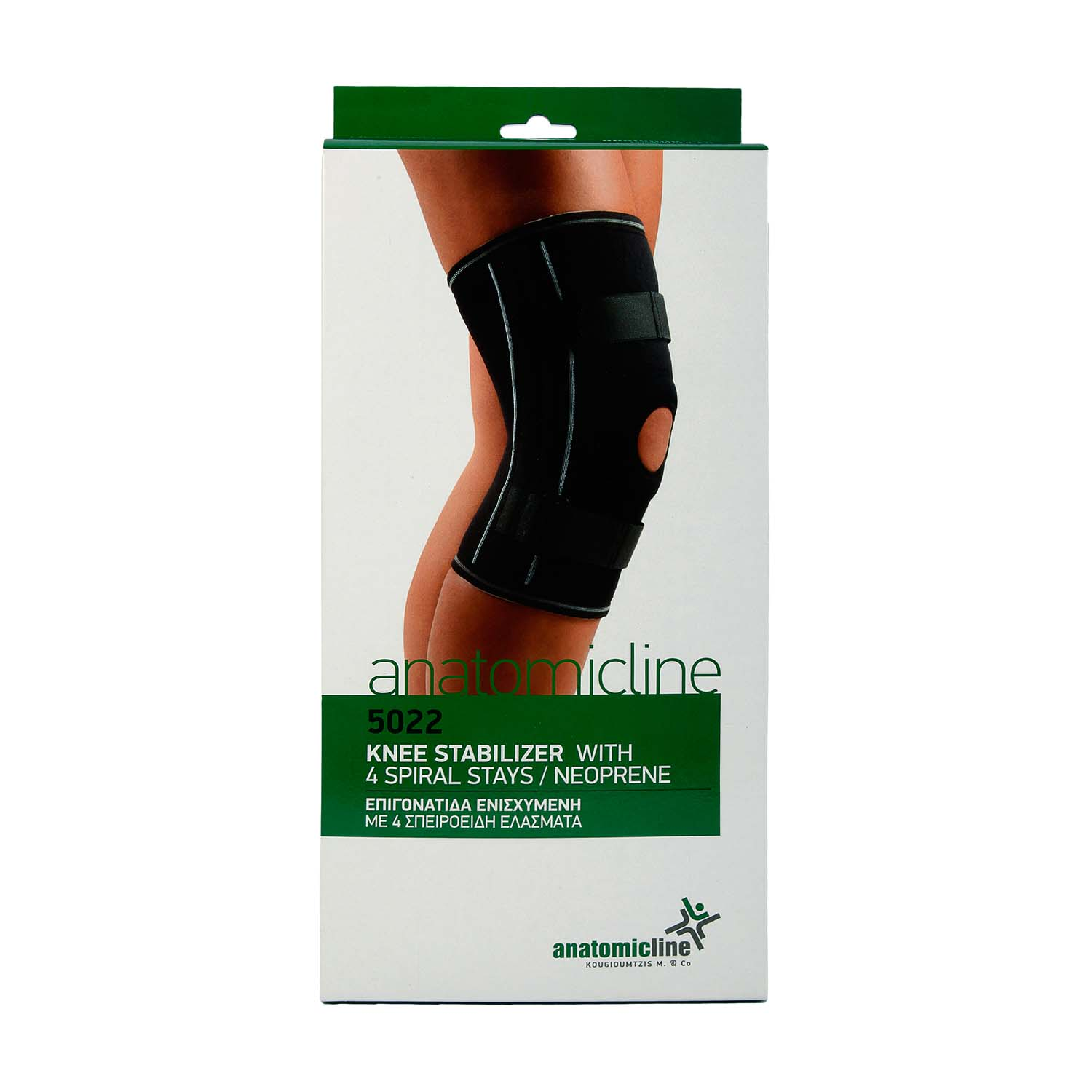 Knee stabilizer with 4 spiral stays